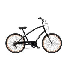 "Велосипед 26"" Electra Townie Original 7D Men's Black w/orange rims (BIC-17-13), фото 1"
