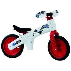 """Беговел 12"""" Bellelli B-Bip обучающий 2-5лет, пластмассовый, белый с красными колёсами (BIC-77), фото 1"""
