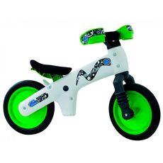 """Беговел 12"""" Bellelli B-Bip обучающий 2-5лет, пластмассовый, белый с зелёными колёсами (BIC-75), фото 1"""