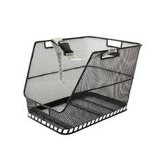 Корзина задн. Basil CLASS стальная сетка, ремень-фиксатор, светоотражатели, черн., фото 1