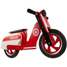 "Беговел 12"" Kiddimoto Scooter деревянный, красно-белый (SKD-85-80), фото 1"
