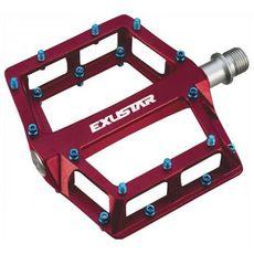 Педали Exustar на пром.подшипниках PB536-RD Al MTB/BMX, ось Cr-Mo, сменные шипы, красные (PED-83-75), фото 1