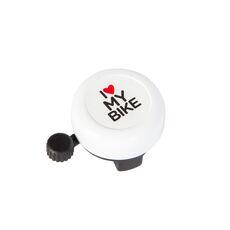 Звонок Green Cycle GCB-1051A-BK I love my bike cтальной белый (BEL-35-92), фото 1
