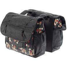 Сумка-штаны на багажник Basil KATHARINA-DOUBLE BAG 38л. цветочный принт, черн., фото 1