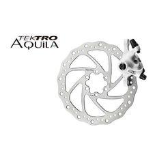 Тормоз дисковый  механ. Tektro Aquila в комплекте с ротором 160мм+калипер+болты+ адаптер IS пер.180мм или задн. 160мм, белый (BRA-19-62), фото 1
