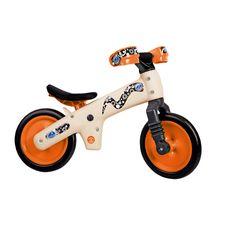 """Беговел 12"""" Bellelli B-Bip обучающий 2-5лет, пластмассовый, бежевый с оранжевыми колёсами (BIC-91), фото 1"""