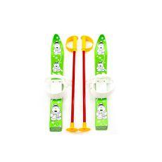 Лыжи с палками Marmat детские пласт., длина-70см зеленый, фото 1