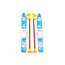 Лыжи с палками Marmat детские пласт., длина-70см синий, фото 1
