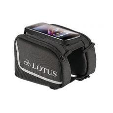 """Сумка Lotus SH-P23-S на верхнюю трубу рамы, с чехлом для телефона 4.7"""" на липучке. Размер S 6.2x13см, черный (BIB-61-32), фото 1"""