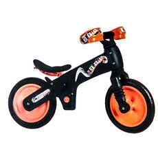 """Беговел 12"""" Bellelli B-Bip обучающий 2-5лет, пластмассовый, чёрный с оранжевыми колёсами (SKD-69-84), фото 1"""
