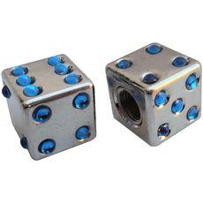 Колпачок камеры TW V-11D Игральные кости из пластика, сереб. цвета с голуб. камушками (в комплекте 4шт) Автомобильного стандарта (CTU-87), фото 1