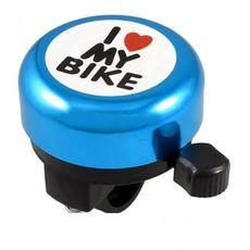 Звонок Green Cycle GBL-251 I love my bike cтальной синий (BEL-53-26), фото 1