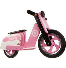 "Беговел 12"" Kiddimoto Scooter деревянный, розово-белый (SKD-43-34), фото 1"