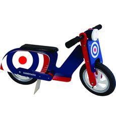 "Беговел 12"" Kiddimoto Scooter деревянный, синяя мишень (SKD-07-71), фото 2"