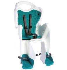 Сиденье заднее Bellelli Mr Fox Сlamp (на багажник) до 22кг, белое с бирюзовой подкладкой (SAD-08-32), фото 1
