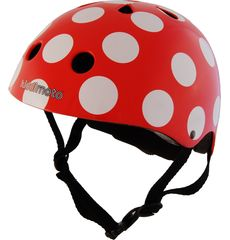 Шлем детский Kiddimoto красный в белый горошек, фото 1