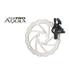 Тормоз дисковый  механ. Tektro Aquila в комплекте с ротором 160мм+калипер+болты+ адаптер IS пер.160мм или задн. 140мм, черн. (BRA-18-84), фото 1