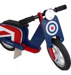 """Беговел 12"""" Kiddimoto Scooter деревянный, сине-красная мишень (SKD-16-28), фото 1"""