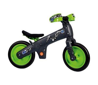 Велосипед (беговел) Bellelli B-Bip обучающий 2-5лет, пластмассовый, чёрный с зелёными колёсами, фото 1