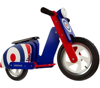 "Беговел 12"" Kiddimoto Scooter деревянный, синяя мишень (SKD-07-71), фото 1"