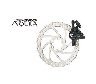 Тормоз дисковый механ. Tektro Aquila в комплекте с ротором 160мм+калипер+болты+ адаптер IS пер.180мм или задн. 160мм, черн. (BRA-90-00), фото 1