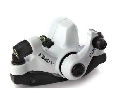 Тормоз дисковый механ. Tektro Novela в комплекте с ротором 160мм+калипер+болты+ адаптер IS пер.180мм или задн. 160мм, белый (BRA-72-14), фото 1