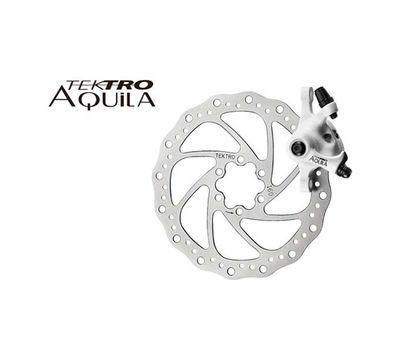 Тормоз дисковый механ. Tektro Aquila в комплекте с ротором 160мм+калипер+болты+ адаптер IS пер.160мм или задн. 140мм, белый (BRA-56-26), фото 1