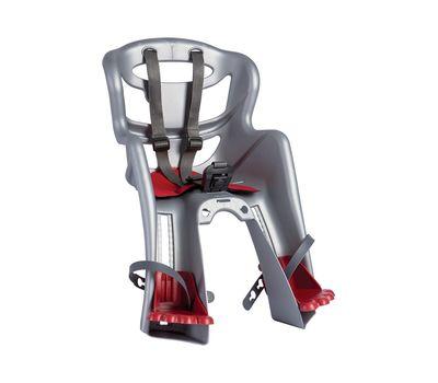 Сиденье переднее Bellelli Tatoo Handefix до 15кг, серебристое с красной подкладкой (SAD-74-10), фото 1