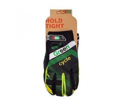 Перчатки Green Cycle NC-2389-2014 MTB с закрытыми пальцами черно-зеленые, фото 1