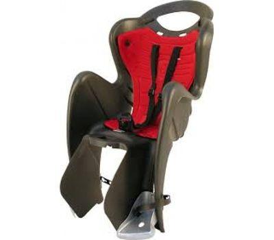 Сиденье заднее Bellelli Mr Fox Standart B-fix до 22кг, чёрное с красной подкладкой (SAD-25-66), фото 1