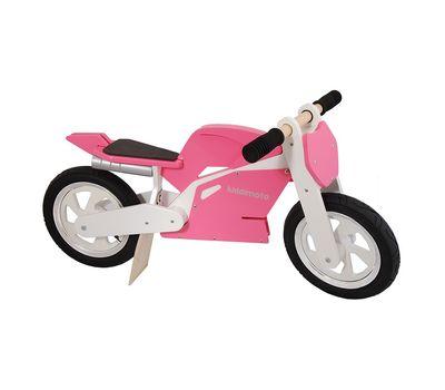 "Беговел 12"" Kiddimoto Superbike деревянный, розово-белый (SKD-91-34), фото 1"