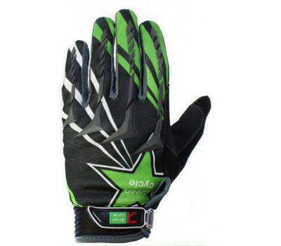 Перчатки Green Cycle NC-2355-2014 MTB с закрытыми пальцами черно-зеленые, фото 1