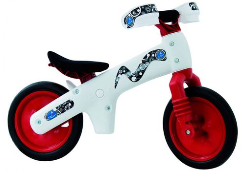 Велосипед (беговел) Bellelli B-Bip обучающий 2-5лет, пластмассовый, белый с красными колёсами (BIC-77), фото 1