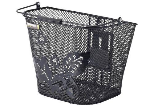 Корзина Basil BASIMPLY EC FLOWER стальная сетка, на руль, для быстросъемных кронштейнов Baseasy-system, БЕЗ КРЕПЛЕНИЯ в комплекте, черная, фото 1