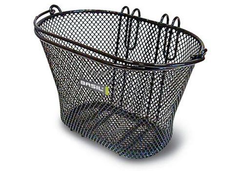 Корзина Basil TURIN стальная сетка, на руль, с крючками, для подрост. велосип., черная, фото 1