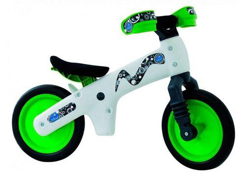 Велосипед (беговел) Bellelli B-Bip обучающий 2-5лет, пластмассовый, белый с зелёными колёсами (BIC-75), фото 1