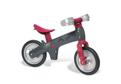 Велосипед (беговел) Bellelli B-Bip обучающий 2-5лет, пластмассовый, чёрный с серебристыми колёсами, красная вилка и седло, фото 1