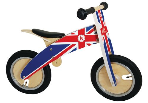 """Беговел 12"""" Kiddimoto Kurve деревянный, британский флаг (SKD-58-02), фото 2"""
